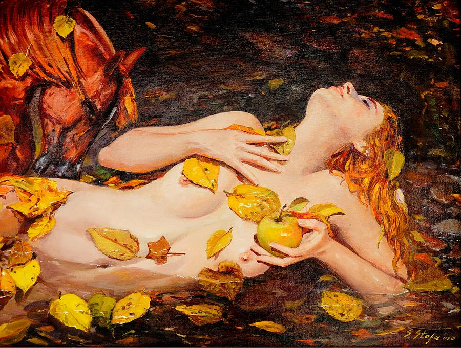 Nude Girl Painting - Golden Fall - The River Girl by Sefedin Stafa