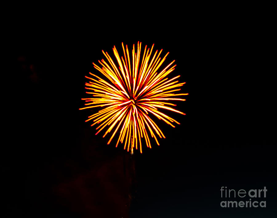 Fireworks Photograph - Golden Fireworks Flower by Robert Bales