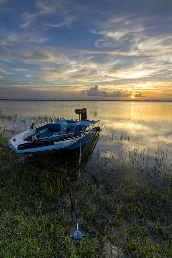 Boats Photograph - Golden Fishing Hour by Debra and Dave Vanderlaan