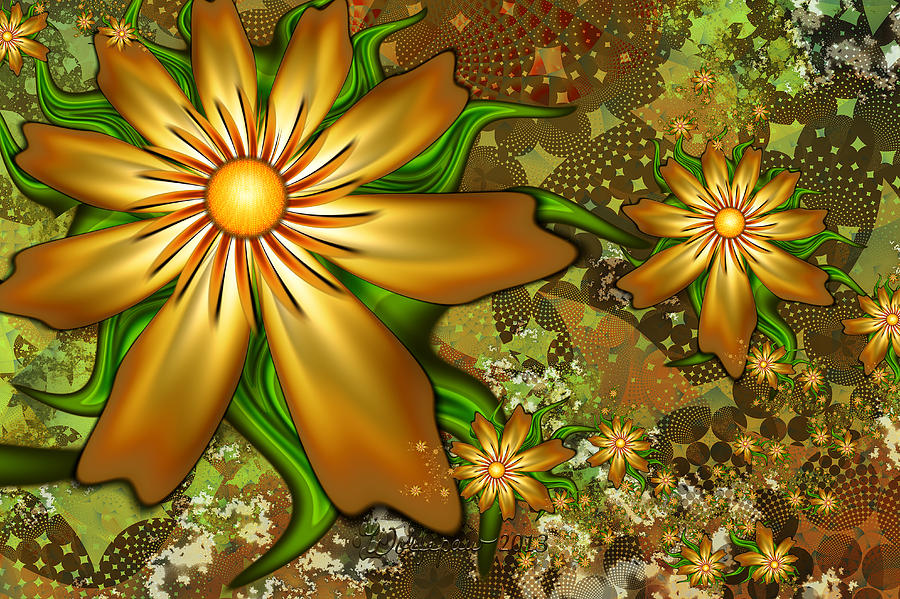 Abstract Digital Art - Golden Flowers by Peggi Wolfe