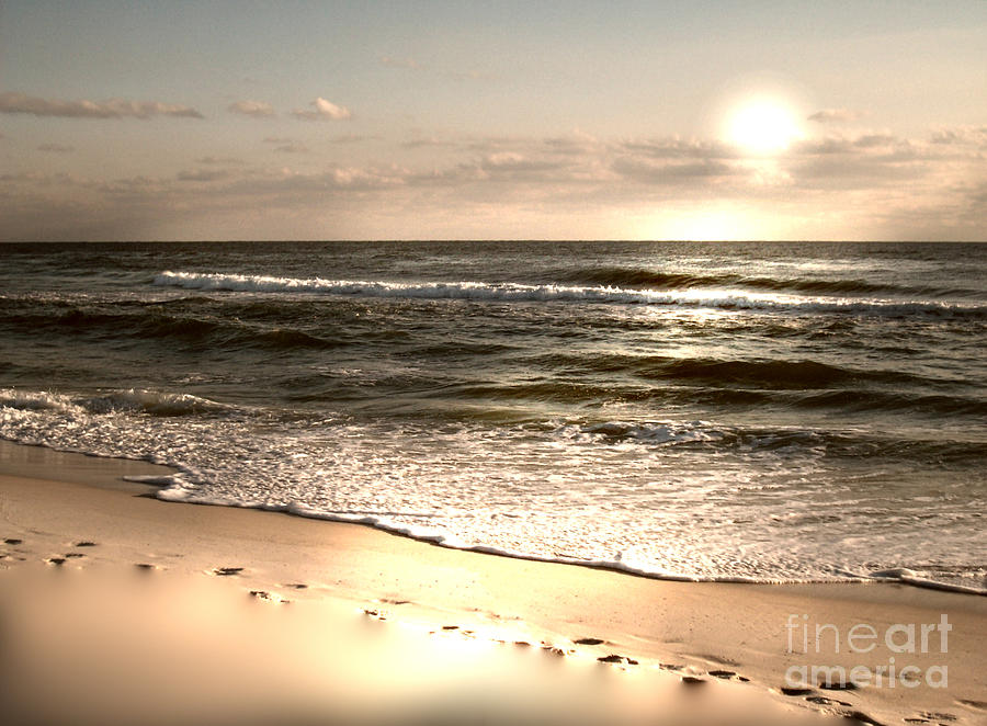 Shoreline Photograph - Golden Footprints by Jeffery Fagan
