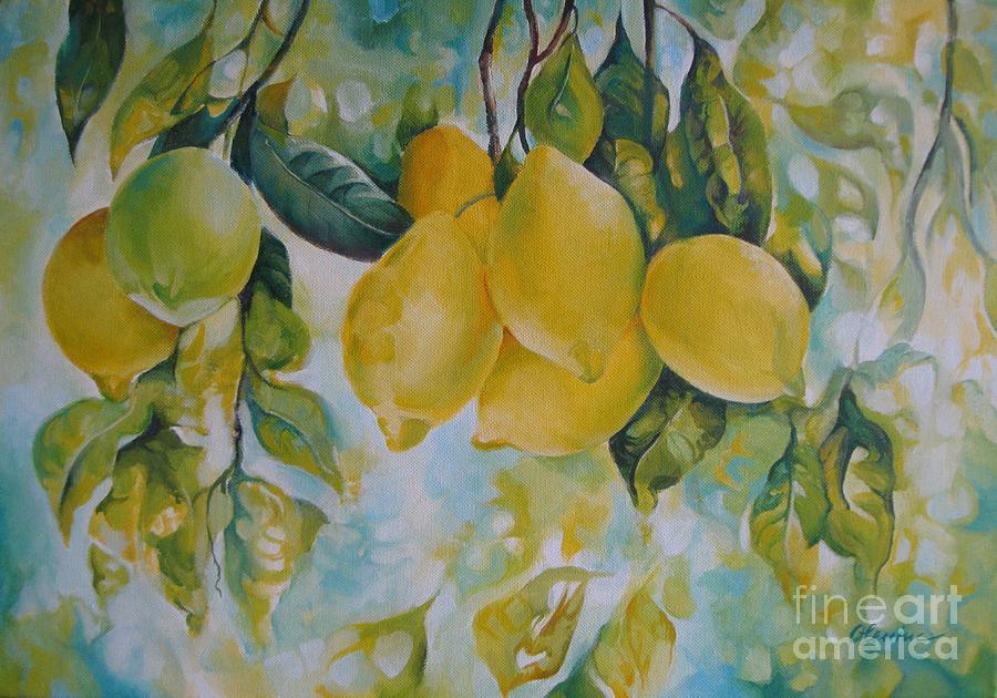 Lemon Painting - Golden Fruit by Elena Oleniuc