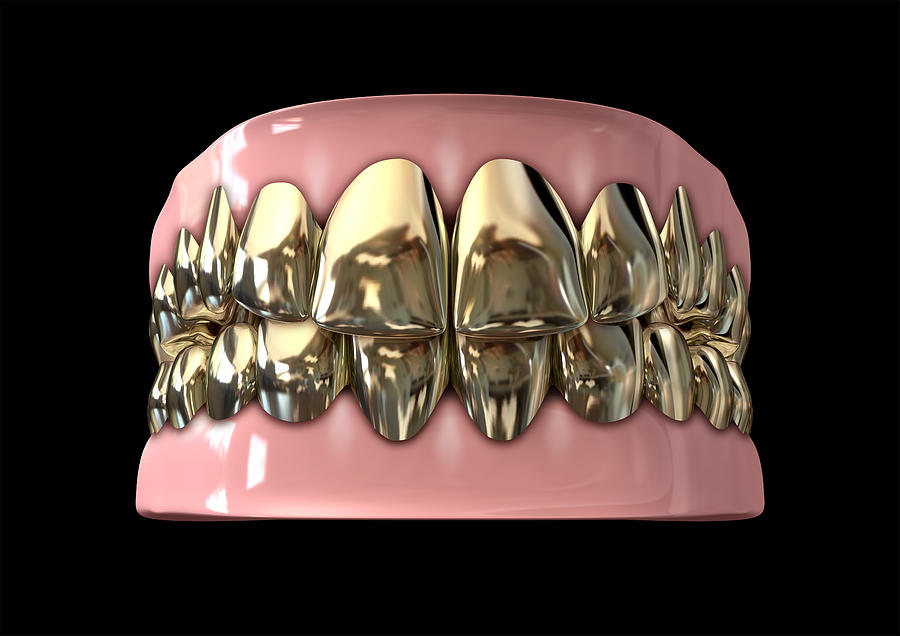 Teeth Digital Art - Golden Gangster Teeth And Gums by Allan Swart
