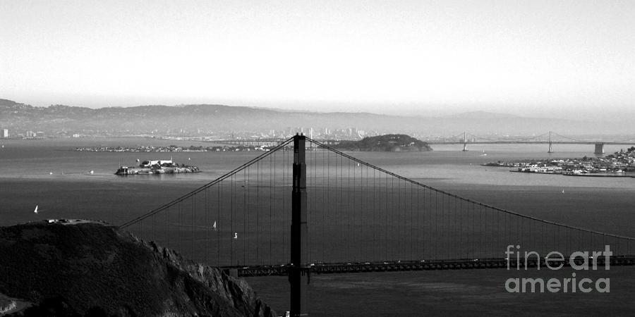 Golden Gate Bridge Photograph - Golden Gate And Bay Bridges by Linda Woods