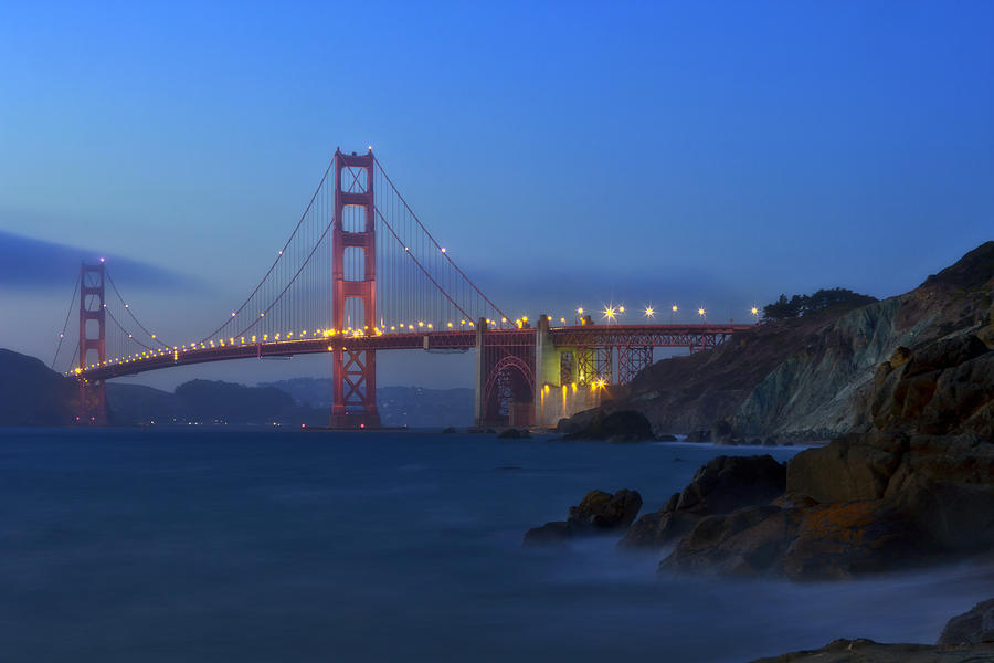 America Photograph - Golden Gate Bridge After Sunset by Melanie Viola