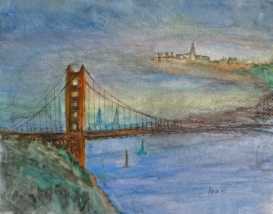 Golden Painting - Golden Gate Bridge And Sailing by Anais DelaVega