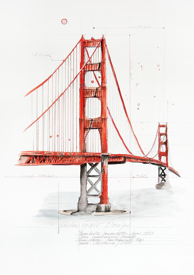 Landscape Painting - Golden Gate Bridge by Astrid Rieger