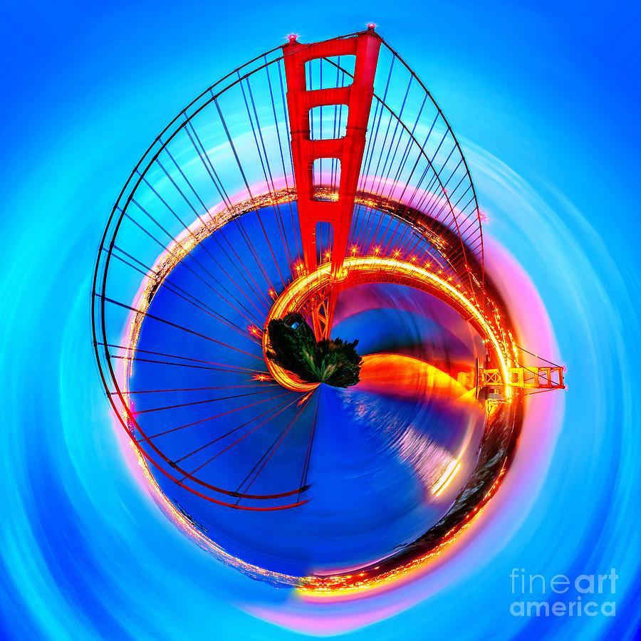 United States Of America Photograph - Golden Gate Bridge Circagraph by Az Jackson