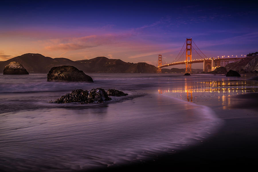 Night Photograph - Golden Gate Bridge Fading Daylight by Mike Leske