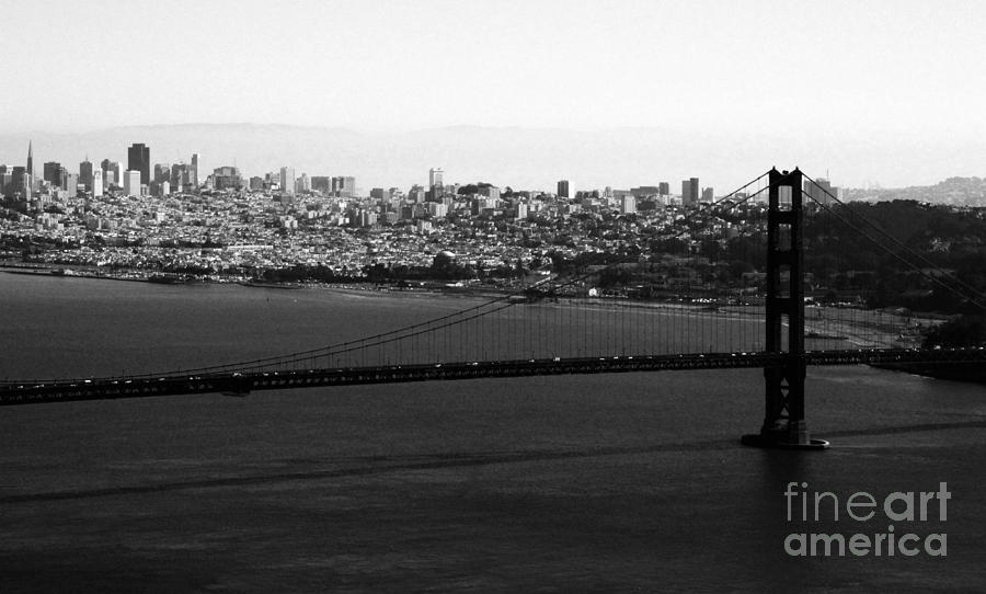 Golden Gate Bridge Photograph - Golden Gate Bridge In Black And White by Linda Woods