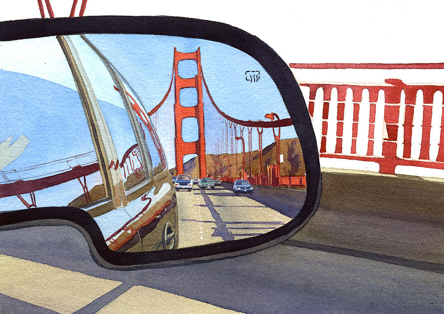 California Painting - Golden Gate Bridge In Side View Mirror by Mary Helmreich