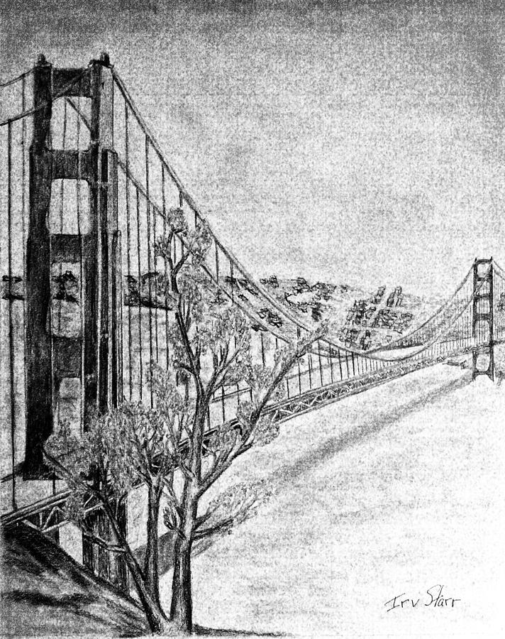 Golden Gate Bridge Drawing - Golden Gate Bridge by Irving Starr