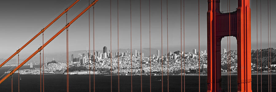 America Photograph - Golden Gate Bridge Panoramic Downtown View by Melanie Viola