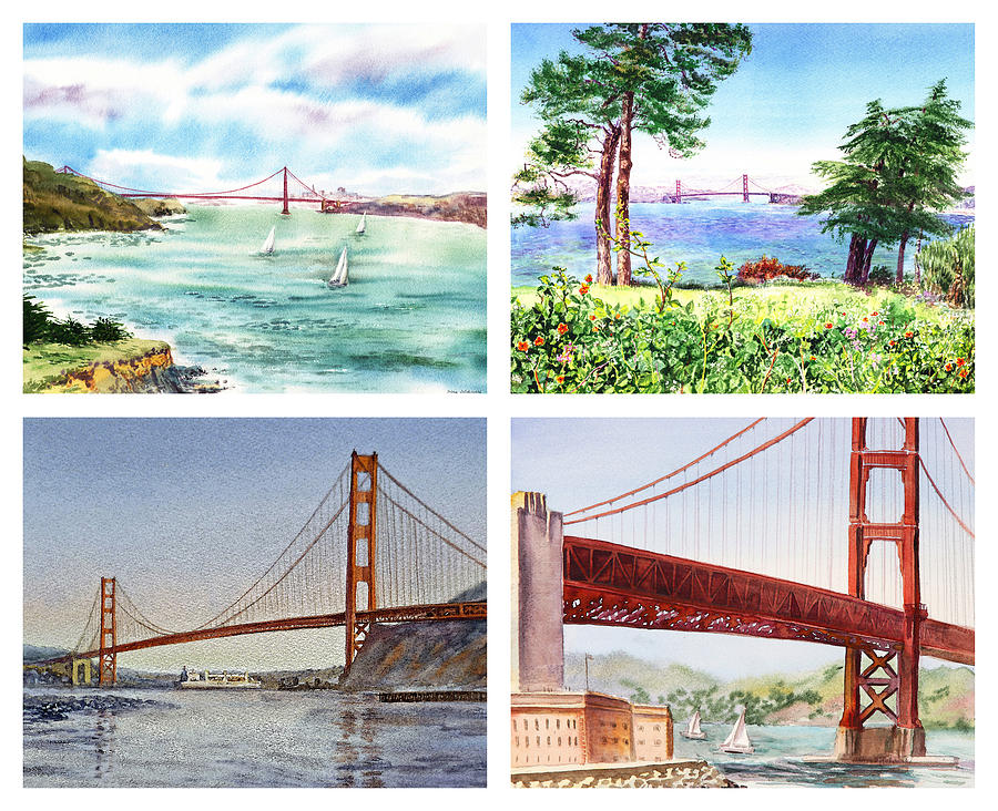 Golden Gate Bridge Painting - Golden Gate Bridge San Francisco California by Irina Sztukowski