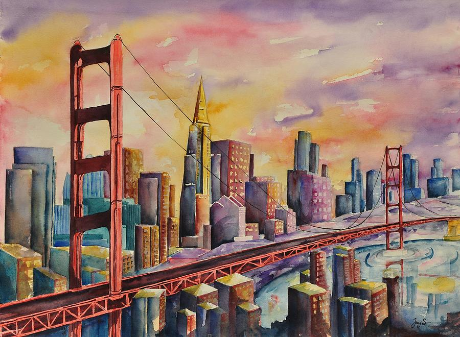 Cityscape Painting - Golden Gate Bridge - San Francisco by Joy Skinner