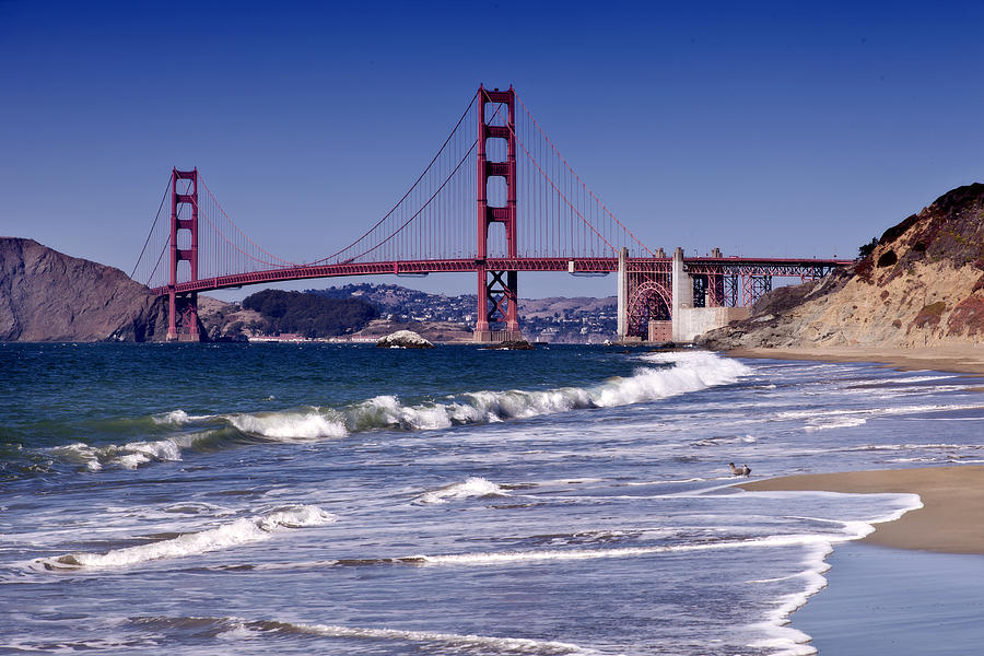 America Photograph - Golden Gate Bridge - Seen From Baker Beach by Melanie Viola