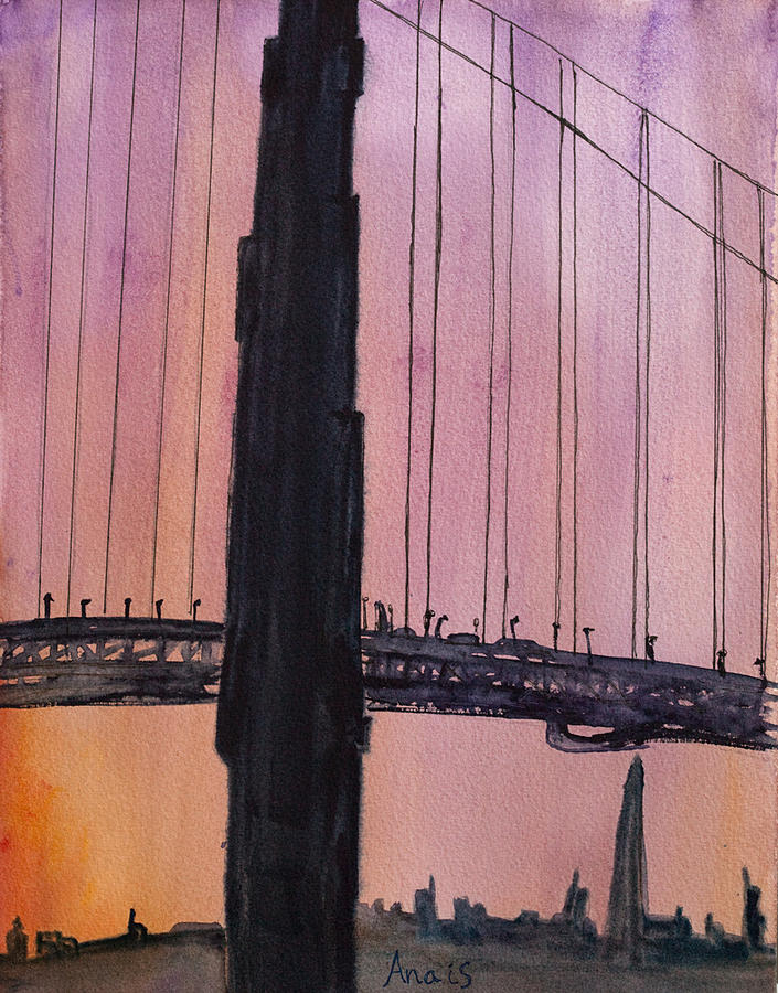 Golden Gate Bridge Tower Painting - Golden Gate Bridge Tower by Anais DelaVega