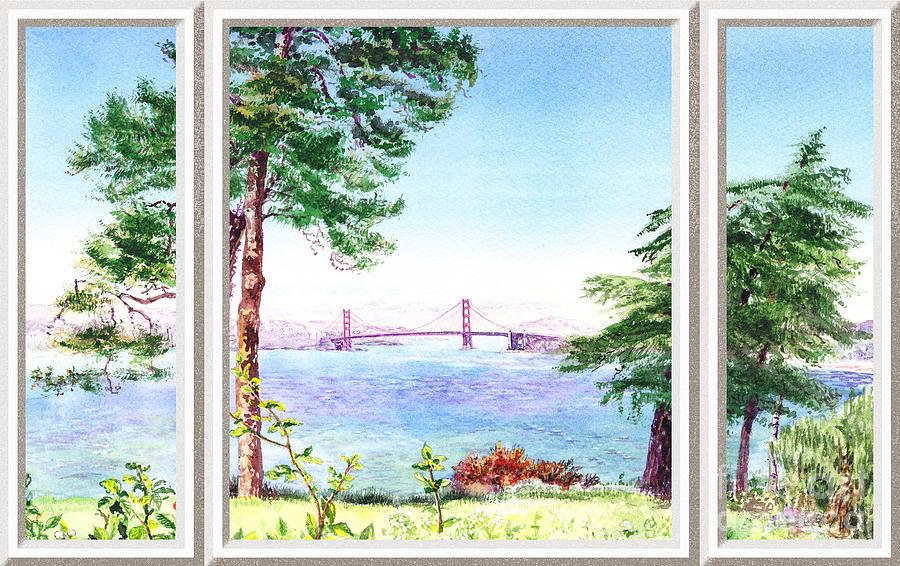 San Francisco Painting - Golden Gate Bridge View Window by Irina Sztukowski