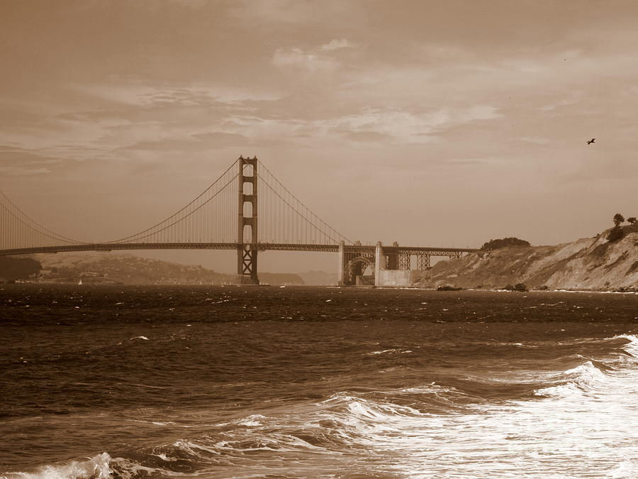 Golden Gate Bridge Photograph - Golden Gate Bridge With Surf Sepia by Carol Groenen