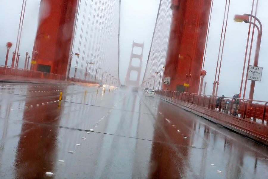Rain Photograph - Golden Gate Rain by Daniel Furon
