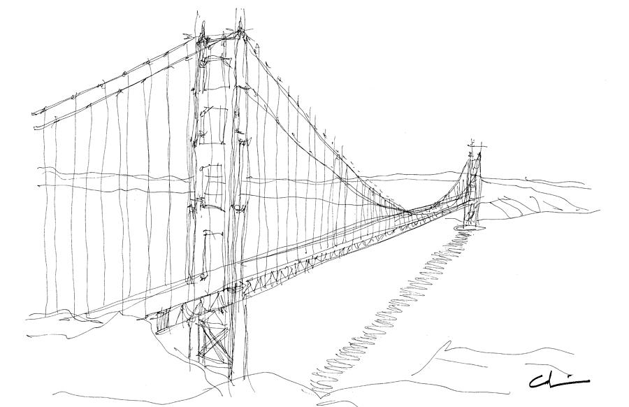 Sketch Drawing - Golden Gate Sketch by Calvin Durham