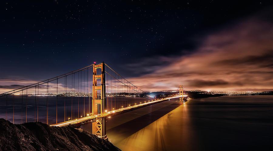 Bridge Photograph - Golden Gate To Stars by Javier De La