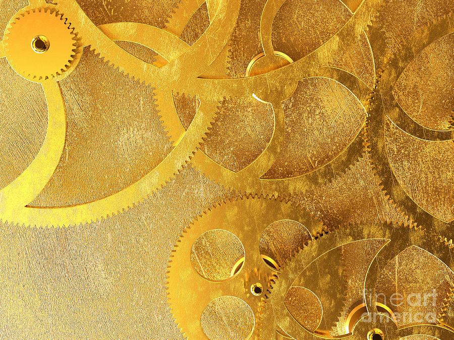 Gear Digital Art - Golden Gears Background by Tomislav Zivkovic