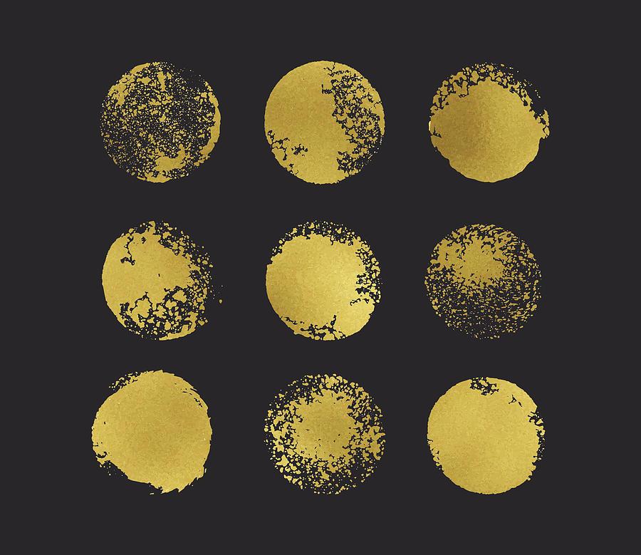 Golden Glitter Circles Boho Chic Style Digital Art by Mariaarefyeva