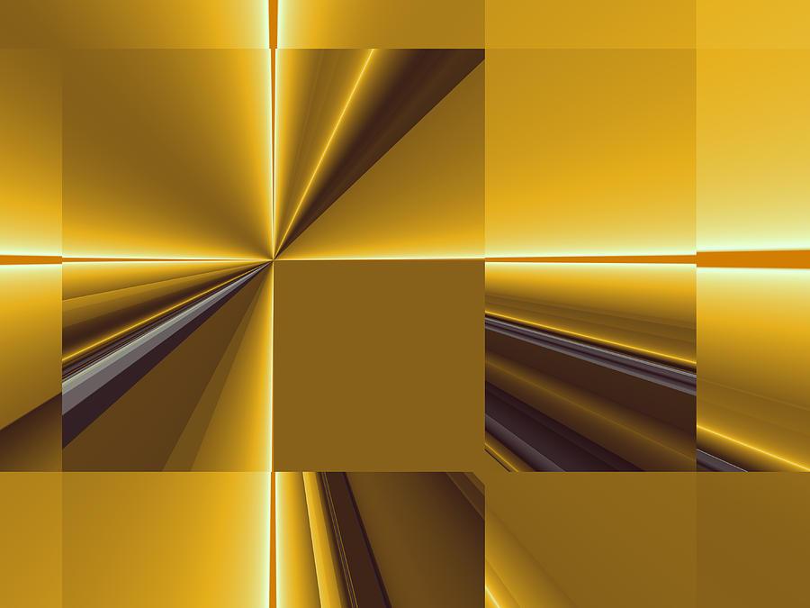 Fractal Digital Art - Golden Graphic by Gabiw Art