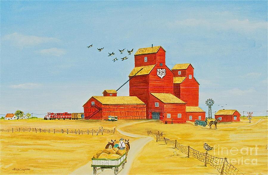 Grain Elevator Painting - Golden Harvest by Virginia Ann Hemingson