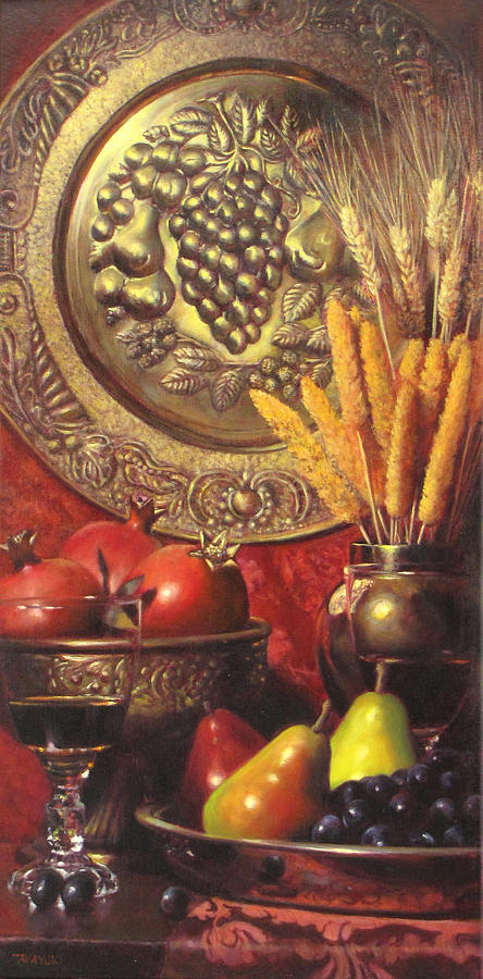Wine Grapes Painting - Golden Harvest With Red Wine by Takayuki Harada