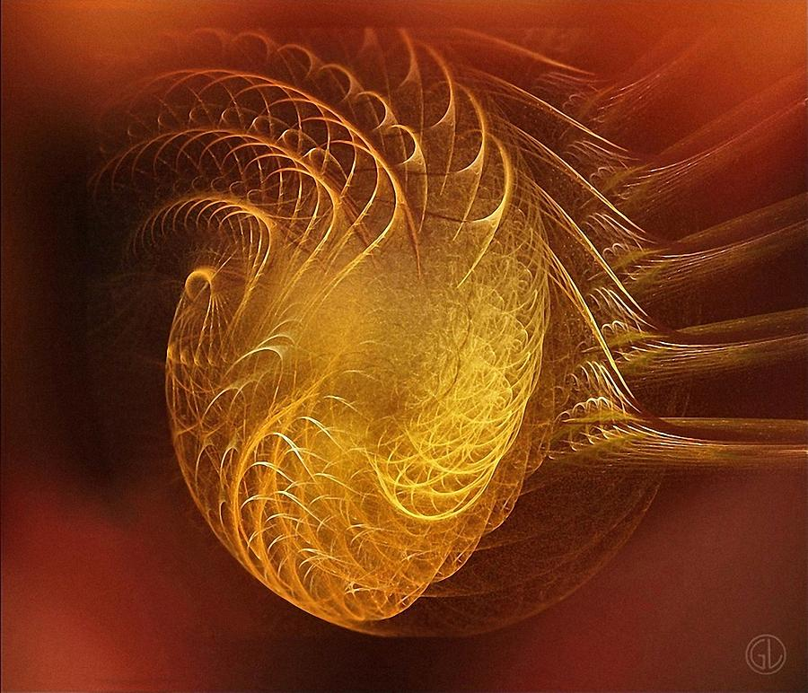 Abstract Digital Art - Golden Heart by Gun Legler