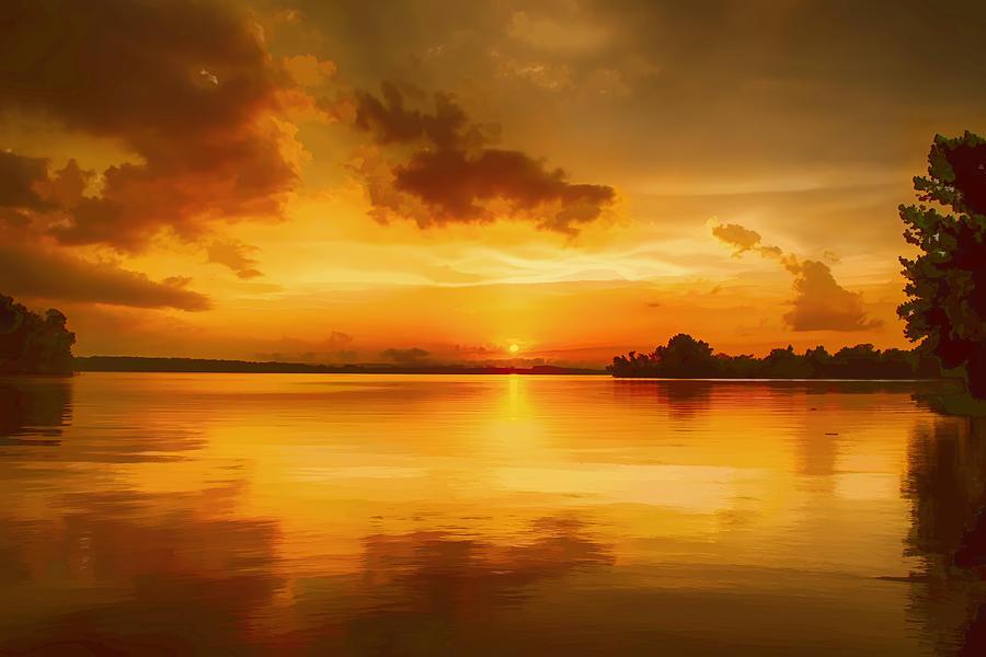 Sunset Photograph - Golden Honey Sunset by Dan Holland