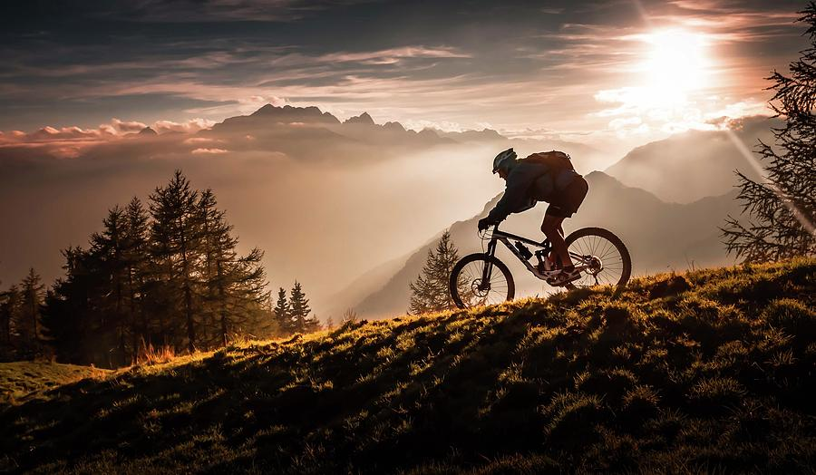 Mtb Photograph - Golden Hour Biking by Sandi Bertoncelj
