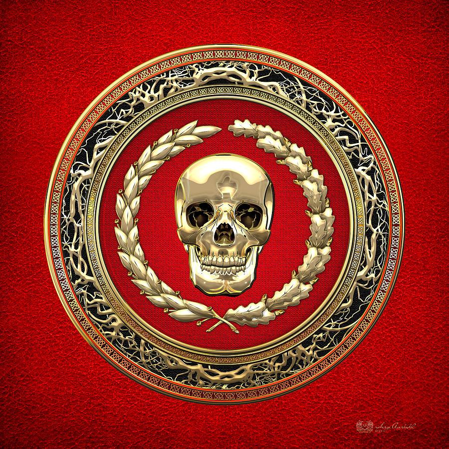 Gold Digital Art - Golden Human Skull On Red   by Serge Averbukh