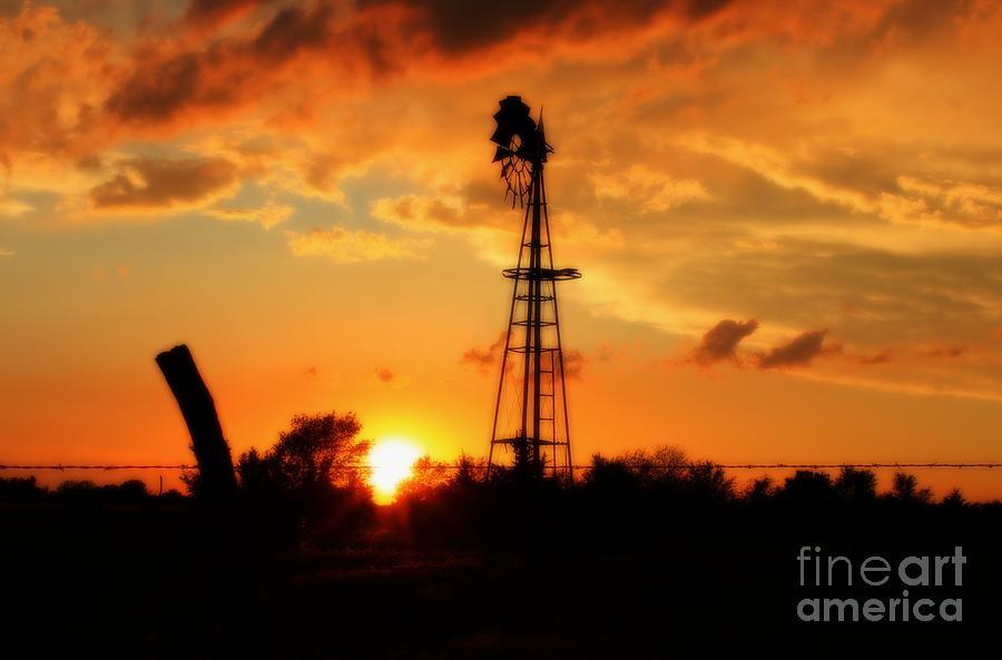 Kansas Photograph - Golden Kansas Sunset With Windmill by Robert D  Brozek