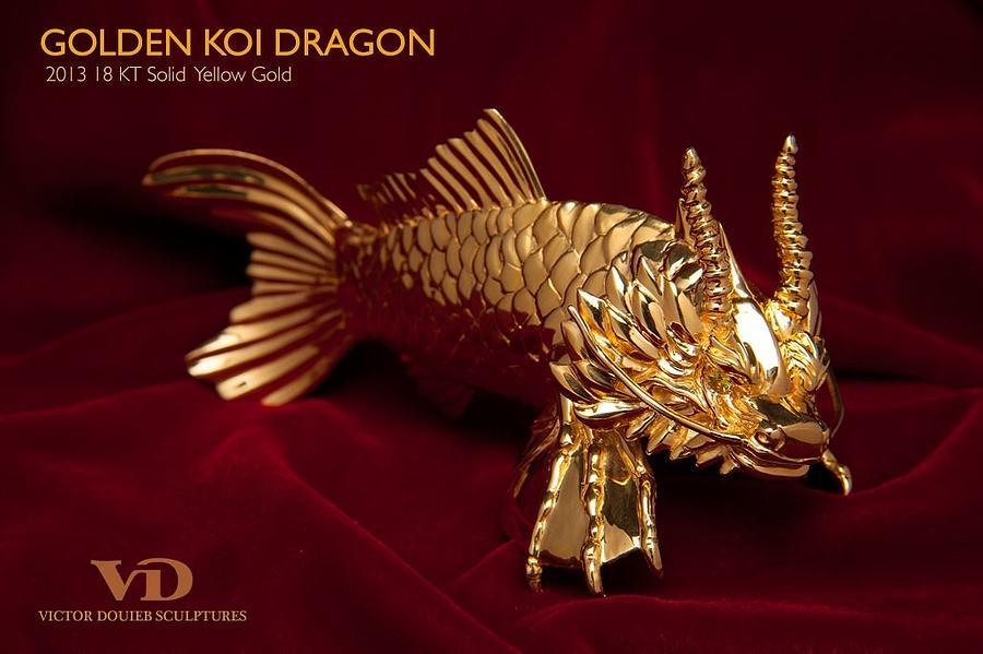 Golden koi dragon sculpture by victor douieb for Koi fish statue