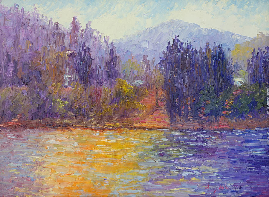 Lake Gregory Painting - Golden Lake Gregory by Terry  Chacon