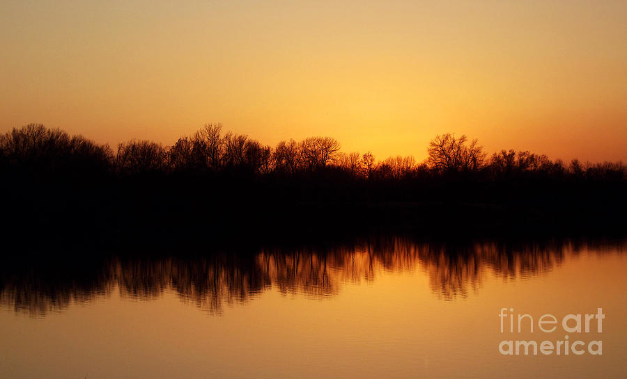 Sunset Photograph - Golden Lake Reflections by R McLellan