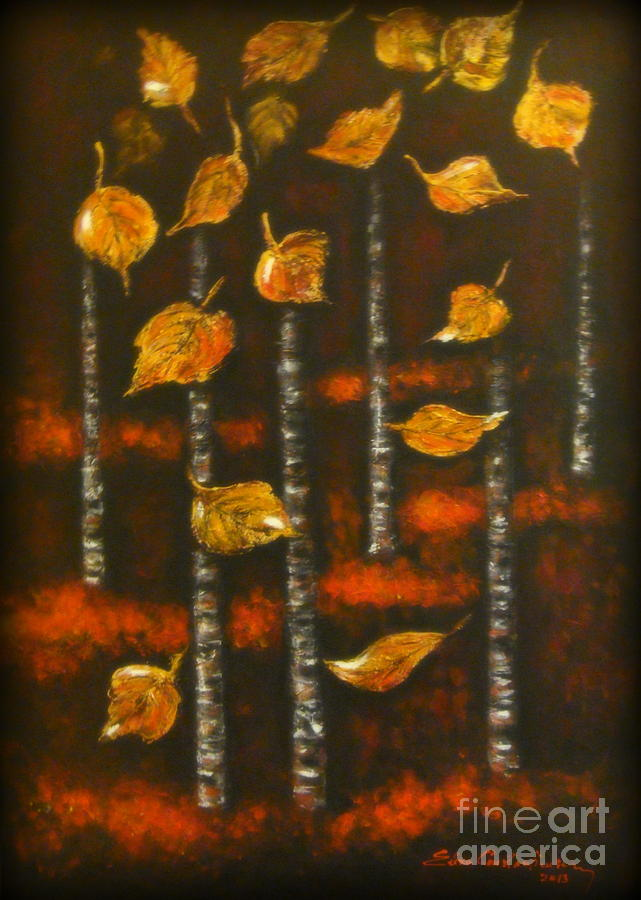 Aspen Trees Painting - Golden Leaves 1 by Elena  Constantinescu