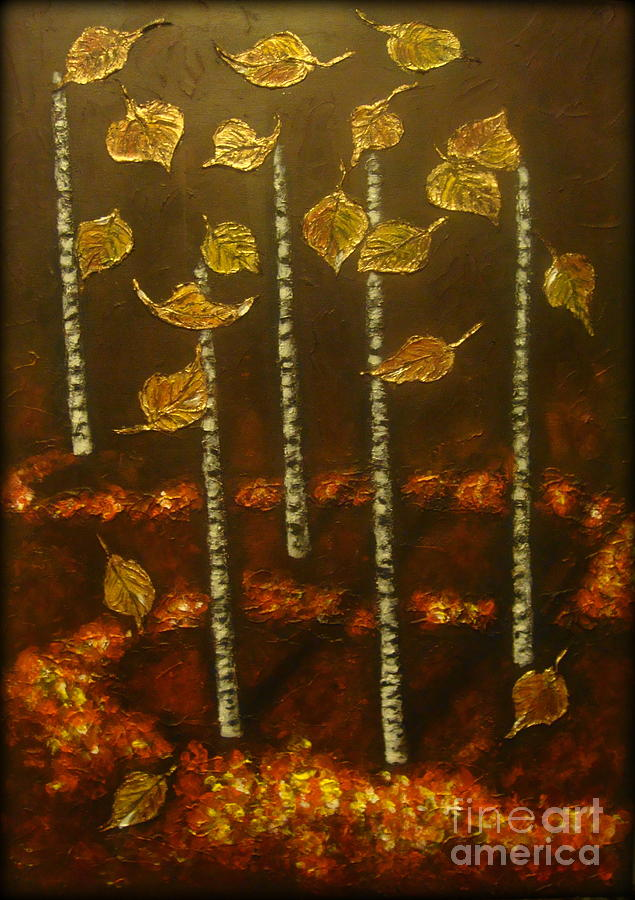 Modern Landscape Painting - Golden Leaves 2 by Elena  Constantinescu