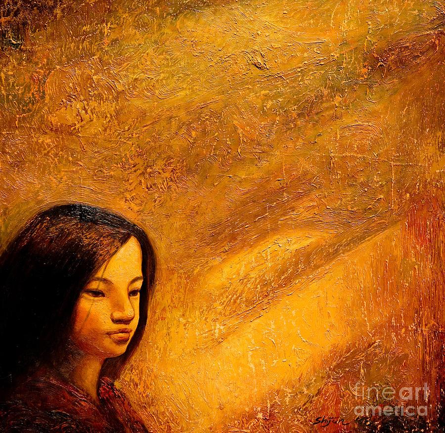 Portrait Painting - Golden Light by Shijun Munns