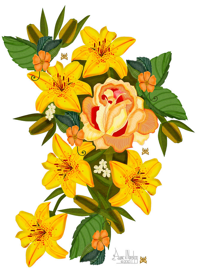 Golden Lily Flowers With Golden Rose Painting
