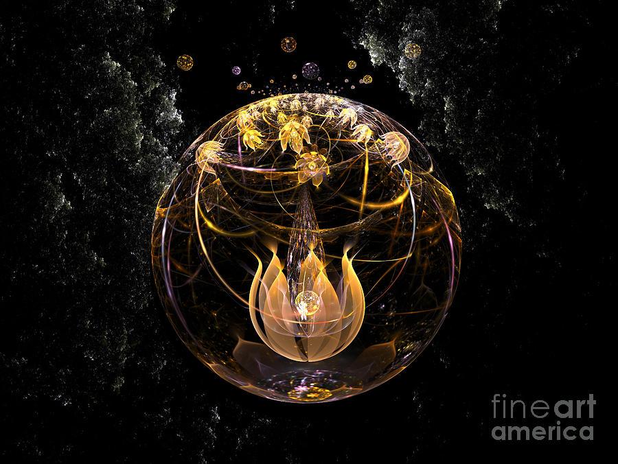 Nicholls Digital Art - Golden Lotus In Deep Space by Peter R Nicholls