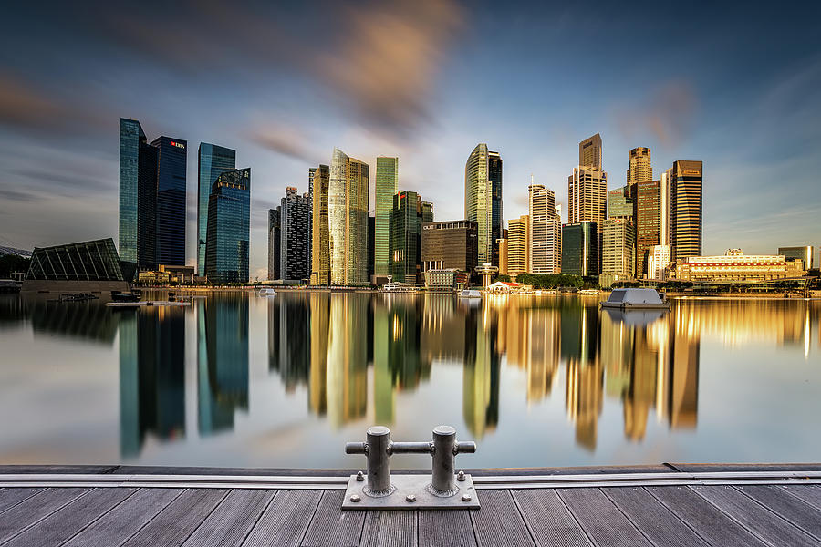 Architecture Photograph - Golden Morning In Singapore by Zexsen Xie