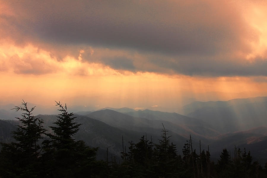 Sunset Photograph - Golden Mountain Rays by Shari Jardina