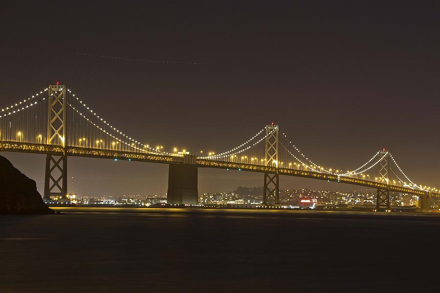 San Francisco Photograph - Golden Night On The Bay by Miguel  Uribe