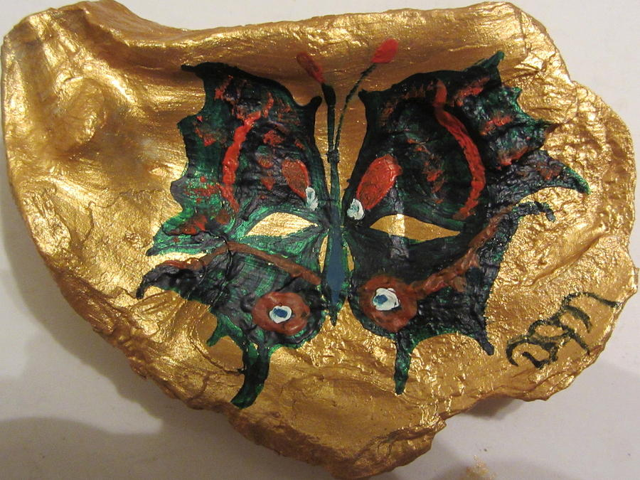Butterfly Painting - Golden Nugget Birds Eye Butterfly On An Oyster Shell by Debbie Nester