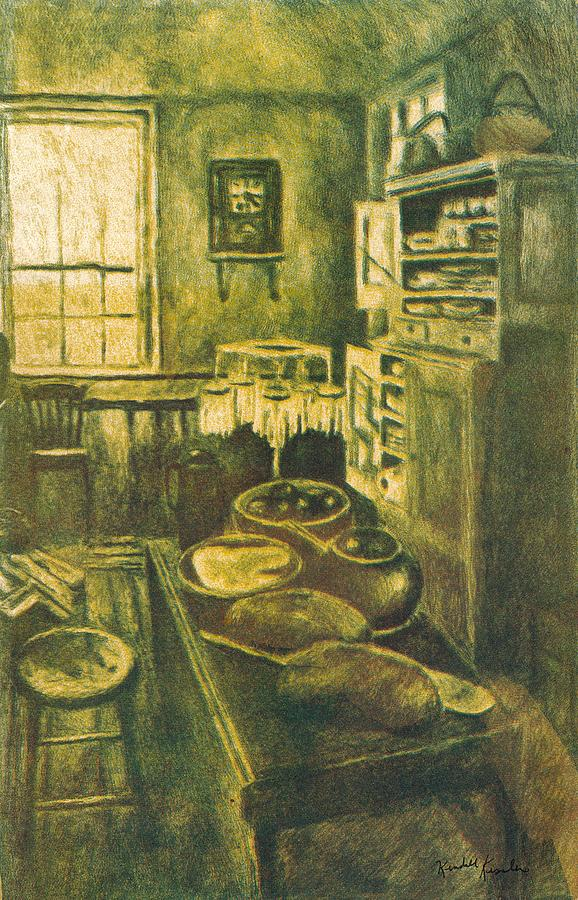 Golden Kitchen Drawings Drawing - Golden Old Fashioned Kitchen by Kendall Kessler