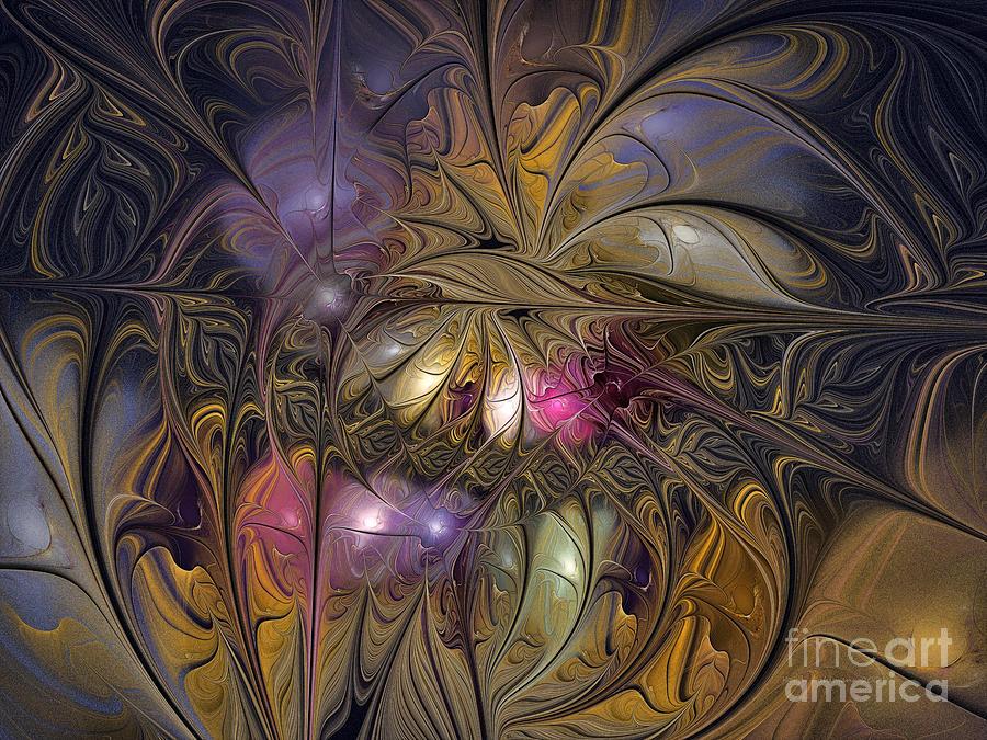Abstract Digital Art - Golden Ornamentations-fractal Design by Karin Kuhlmann